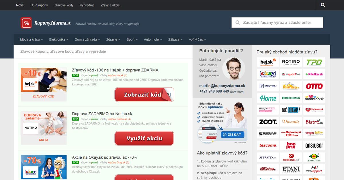 Zľavové kupóny na KuponyZdarma.sk
